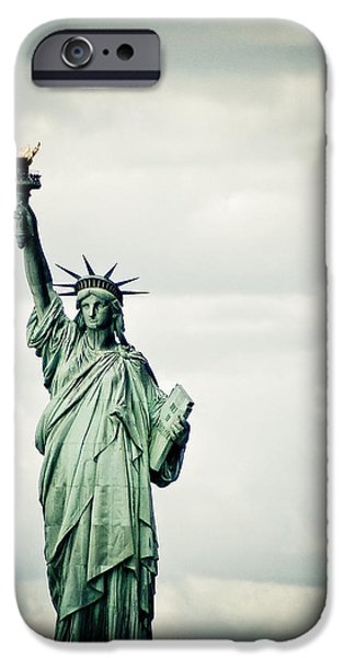 Fourth Of July iPhone Cases - Statue of Liberty iPhone Case by Mesha Zelkovich
