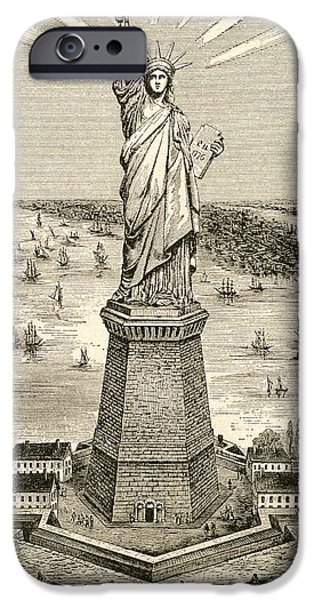 Nineteenth iPhone Cases - Statue Of Liberty, New York, United States Of America Soon After Its Dedication On October 28 iPhone Case by Bridgeman Images