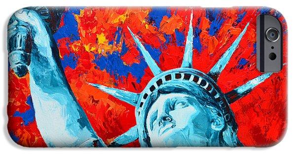 Statue Of Liberty Paintings iPhone Cases - Statue of Liberty - Lady Liberty iPhone Case by Patricia Awapara