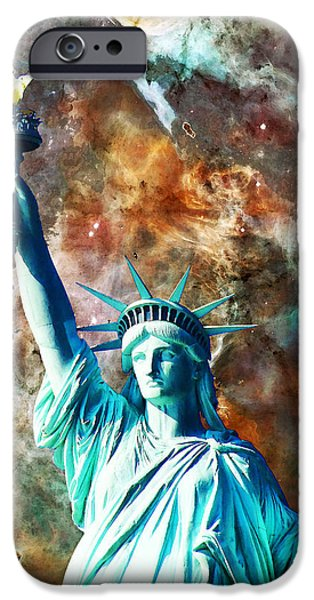Patriotism iPhone Cases - Statue Of Liberty - She Stands iPhone Case by Sharon Cummings