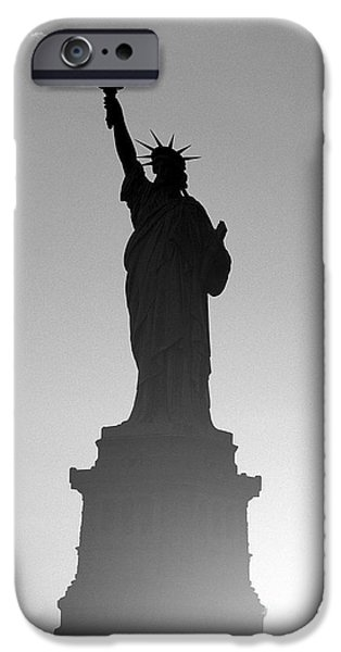 Statue iPhone Cases - Statue of Liberty iPhone Case by Tony Cordoza