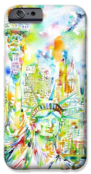Goddess Of Liberty iPhone Cases - STATUE OF LIBERTY - watercolor portrait iPhone Case by Fabrizio Cassetta