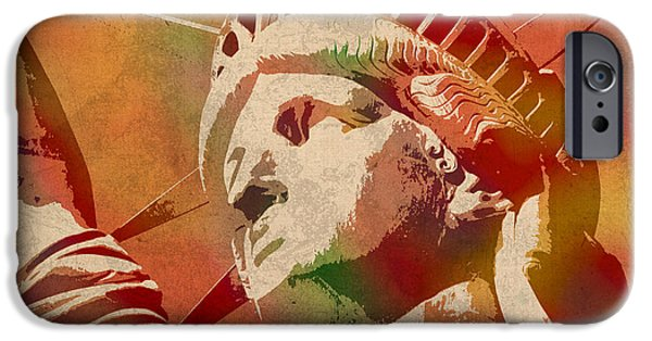 Manhattan Mixed Media iPhone Cases - Statue of Liberty Watercolor Portrait No 1 iPhone Case by Design Turnpike