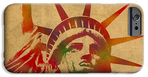 Statue Portrait Mixed Media iPhone Cases - Statue of Liberty Watercolor Portrait No 2 iPhone Case by Design Turnpike