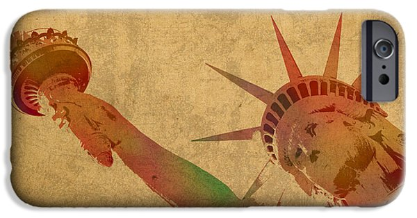 Nyc Mixed Media iPhone Cases - Statue of Liberty Watercolor Portrait No 3 iPhone Case by Design Turnpike