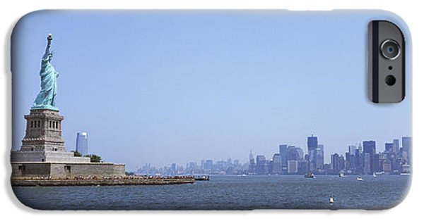 Patriotism iPhone Cases - Statue Of Liberty With Manhattan iPhone Case by Panoramic Images