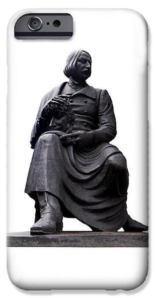 Cut-outs iPhone Cases - Statue of Nikolai Gogol  iPhone Case by Fabrizio Troiani