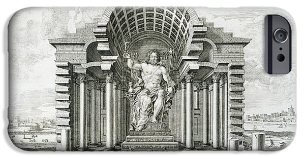 Detailed Drawings iPhone Cases - Statue of Olympian Zeus iPhone Case by Johann Bernhard Fischer von Erlach