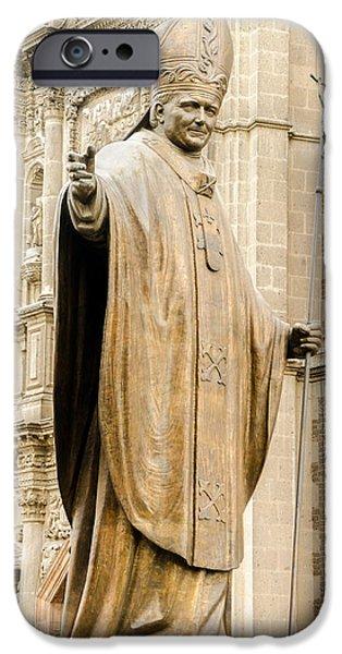 Pope iPhone Cases - Statue of Pope John Paul II iPhone Case by Jess Kraft