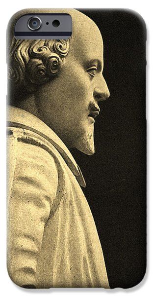 Marble iPhone Cases - Statue Of William Shakespeare 1564-1616 Stone Detail iPhone Case by English School