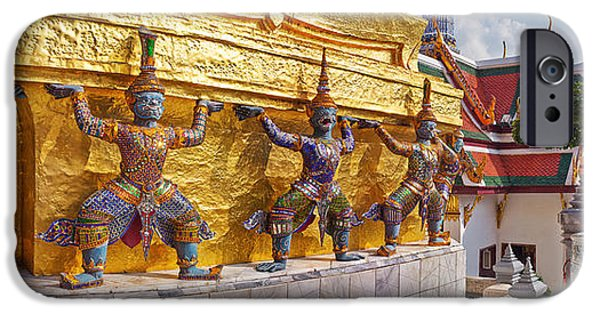 Buddhism iPhone Cases - Statues At A Temple, Wat Phra Kaeo iPhone Case by Panoramic Images