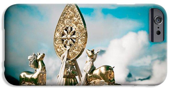 Tibetan Buddhism iPhone Cases - Stautes Of Deer and Golden Dharma Wheel iPhone Case by Raimond Klavins