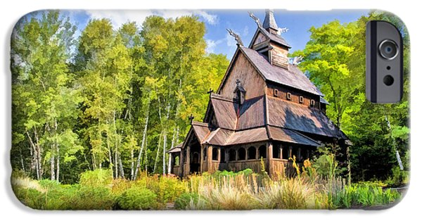Norway iPhone Cases - Stavkirke Church on Washington Island Door County  iPhone Case by Christopher Arndt