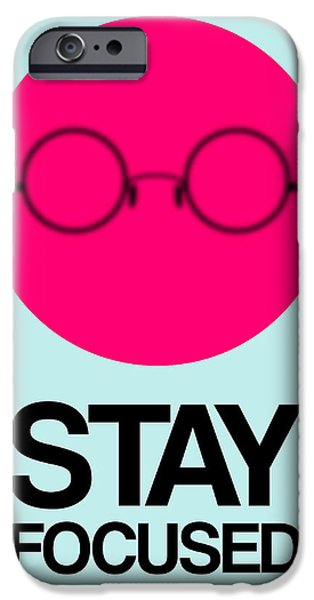 Funny Digital Art iPhone Cases - Stay Focused Circle Poster 1 iPhone Case by Naxart Studio