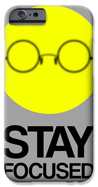 Funny Digital Art iPhone Cases - Stay Focused Circle Poster 2 iPhone Case by Naxart Studio