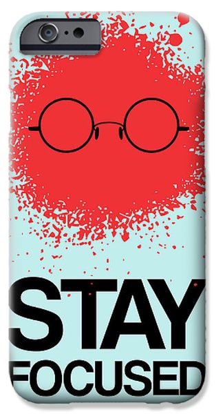 Polaroid iPhone Cases - Stay Focused Splatter Poster 1 iPhone Case by Naxart Studio