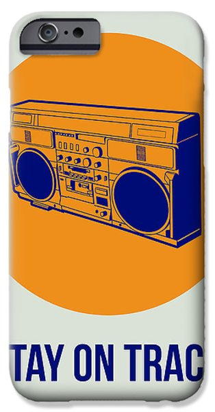 Funny Digital Art iPhone Cases - Stay On Track BoomBox 1 iPhone Case by Naxart Studio