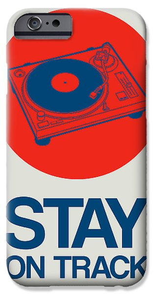 Funny Digital Art iPhone Cases - Stay On Track Record Player 1 iPhone Case by Naxart Studio