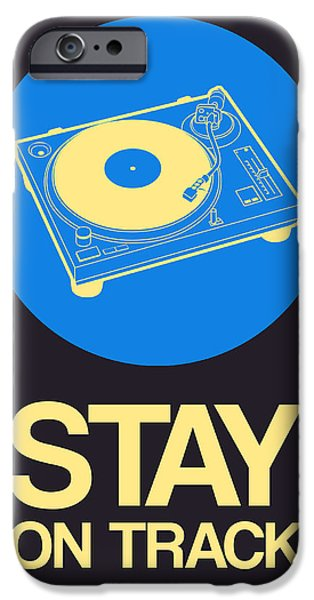 Funny Digital Art iPhone Cases - Stay On Track Record Player 2 iPhone Case by Naxart Studio
