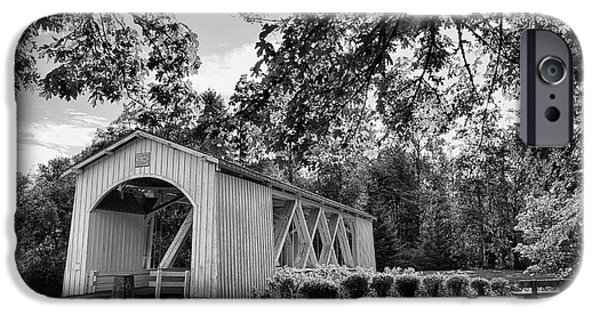 October iPhone Cases - Stayton-Jordan Covered Bridge Black and White iPhone Case by Mark Kiver