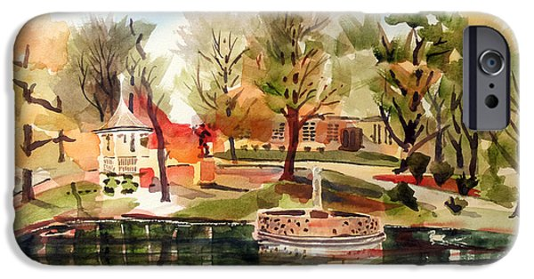 Fall Scenes iPhone Cases - Ste. Marie du Lac with Gazebo and Pond I iPhone Case by Kip DeVore