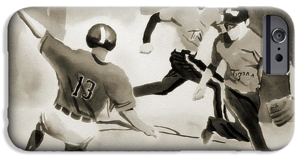 Baseball Art Paintings iPhone Cases - Stealing Second BW iPhone Case by Kip DeVore