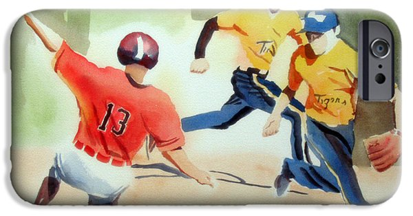 Baseball Art Paintings iPhone Cases - Stealing Second iPhone Case by Kip DeVore