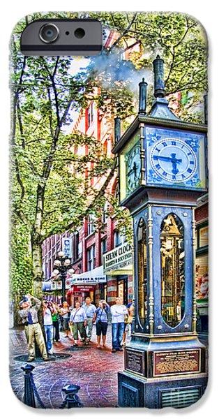 Steam iPhone Cases - Steam Clock in Vancouver Gastown iPhone Case by David Smith