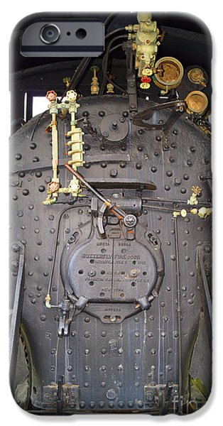 444 iPhone Cases - Steam Engine 444 Fire Box and the Controls iPhone Case by Kim Pate