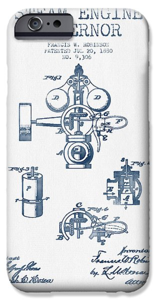 Steam Engine iPhone Cases - Steam Engine Governor Patent Drawing From 1880- Blue Ink iPhone Case by Aged Pixel