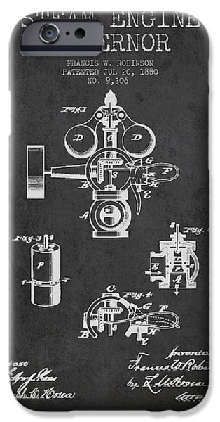 Steam Engine iPhone Cases - Steam Engine Governor Patent Drawing From 1880- Dark iPhone Case by Aged Pixel