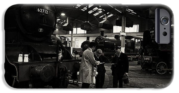 Historical Re-enactments iPhone Cases - Steam locomotive shed workers. iPhone Case by Mick Gosling