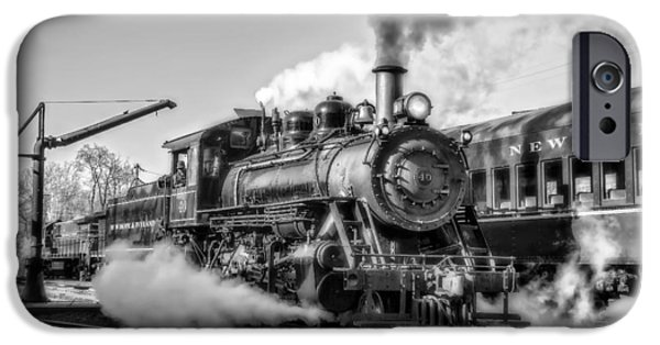 Railway Locomotive iPhone Cases - Steam Train No. 40 BW iPhone Case by Susan Candelario