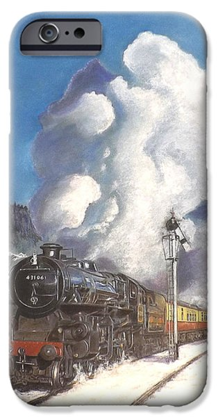 Tracks Pastels iPhone Cases - Steam Up on a Crisp Morning iPhone Case by David James