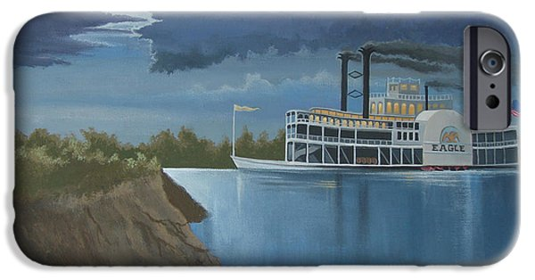 Steamboat iPhone Cases - Steamboat on the Mississippi iPhone Case by Stuart Swartz