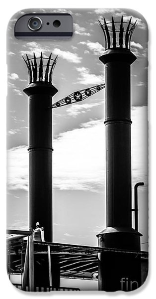 Steamboat iPhone Cases - Steamboat Smokestacks Black and White Picture iPhone Case by Paul Velgos