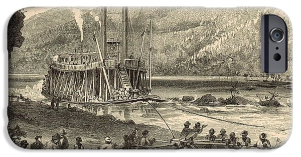 Tennessee Drawings iPhone Cases - Steamer on the Tennessee warped through the Suck - 1872 Engraving iPhone Case by Antique Engravings