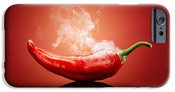 Background iPhone Cases - Steaming hot Chilli iPhone Case by Johan Swanepoel
