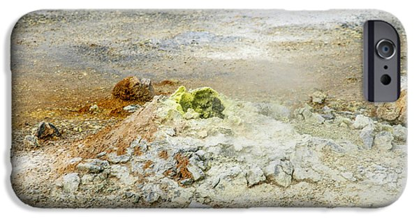 Asphalt iPhone Cases - Steaming sulphur iPhone Case by Patricia Hofmeester