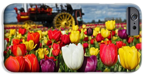 Antiques iPhone Cases - Steaming thru the Tulips 7351 iPhone Case by Donald Sewell