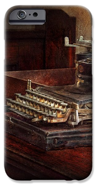 Steampunk - A crusty old typewriter iPhone Case by Mike Savad