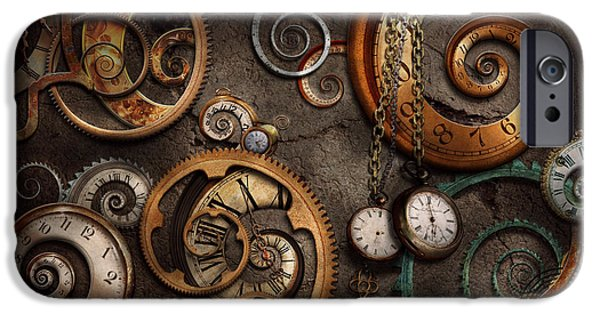 Suburbanscenes iPhone Cases - Steampunk - Abstract - Time is complicated iPhone Case by Mike Savad