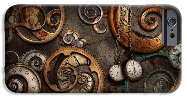 Strange iPhone Cases - Steampunk - Abstract - Time is complicated iPhone Case by Mike Savad
