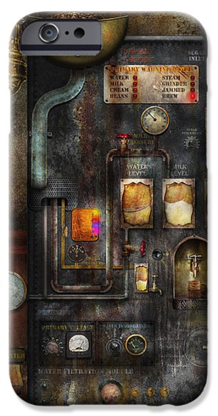 Suburbanscenes iPhone Cases - Steampunk - All that for a cup of coffee iPhone Case by Mike Savad