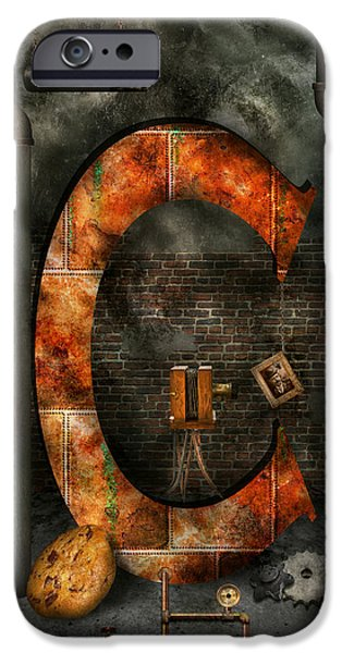 Interior Scene iPhone Cases - Steampunk - Alphabet - C is for Chain iPhone Case by Mike Savad
