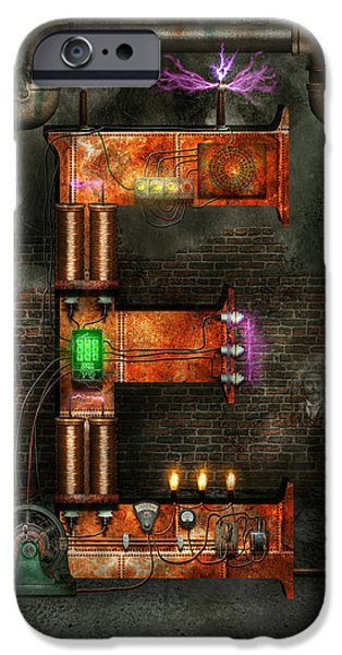 Suburban Digital Art iPhone Cases - Steampunk - Alphabet - E is for Electricity iPhone Case by Mike Savad
