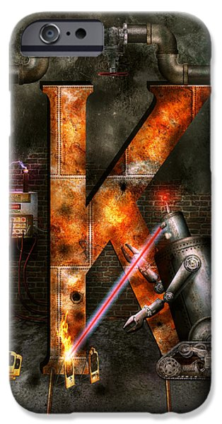 Creepy iPhone Cases - Steampunk - Alphabet - K is for Killer Robots iPhone Case by Mike Savad