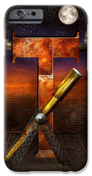 Self Discovery iPhone Cases - Steampunk - Alphabet - T is for Telescope iPhone Case by Mike Savad