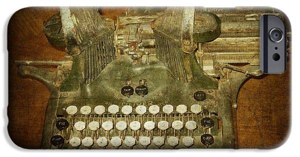 Austin Artist Digital Art iPhone Cases - Steampunk Antique typewriter Oliver Company iPhone Case by Svetlana Novikova