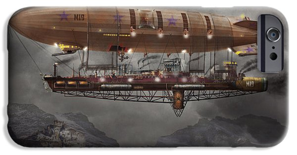 Savad iPhone Cases - Steampunk - Blimp - Airship Maximus  iPhone Case by Mike Savad